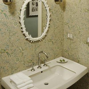 Aménagement d'un WC et toilettes contemporain avec un lavabo de ferme.
