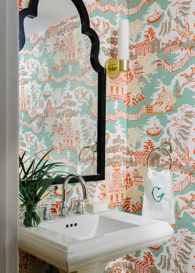 Transitional Powder Room by Alison Giese Interiors