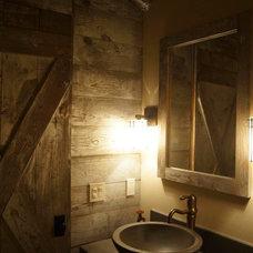 Rustic Powder Room by Porth Architects, Ltd.