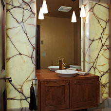 Transitional Powder Room by AnneMarie Design LLC