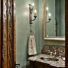 Mediterranean Powder Room by Rick O'Donnell Architect