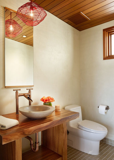 Tropical Powder Room by Rockefeller Kempel Architects