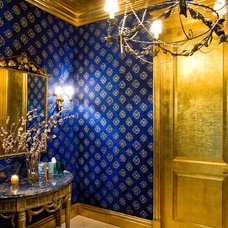 Mediterranean Powder Room by Roy Campana Photography