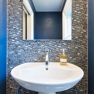 Contemporary cloakroom in Boston with a pedestal sink and multi-coloured tiles.