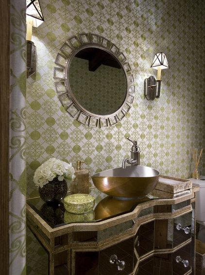 Mediterranean Powder Room by SoCal Contractor