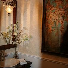 Traditional Powder Room by Sonya Kinkade Design