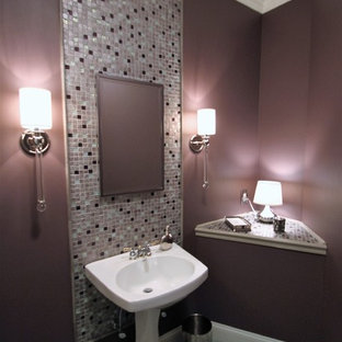Inspiration for a medium sized traditional cloakroom in Philadelphia with multi-coloured tiles, mosaic tiles, pink walls, a pedestal sink and tiled worktops.