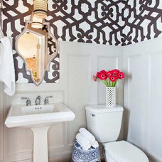 Transitional Powder Room by TerraCotta Studio