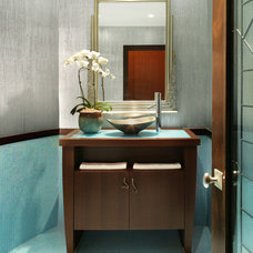 Asian Powder Room by Thyme & Place Design LLC