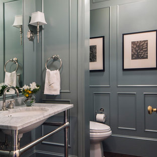 Powder room - large traditional dark wood floor and brown floor powder room idea in San Francisco with open cabinets, a one-piece toilet, blue walls, a console sink, marble countertops and white countertops