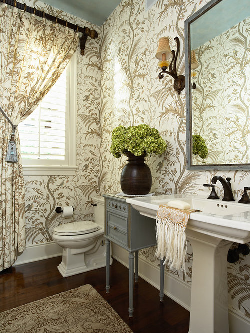 example of a classic powder room design in minneapolis with a pedestal sink - Powder Room Pedestal Sink