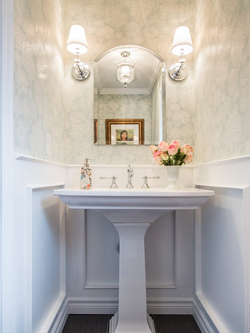 example of a classic powder room design in toronto with a pedestal sink and multicolored walls - Powder Room Pedestal Sink