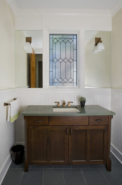 Craftsman Powder Room by Great Rooms Designers & Builders