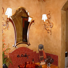 Mediterranean Powder Room by VENETIAN INTERIOR ART INC.