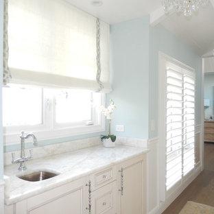 Идея дизайна: маленький туалет в стиле современная классика с плоскими фасадами, белыми фасадами, синими стенами, полом из ламината и мраморной столешницей