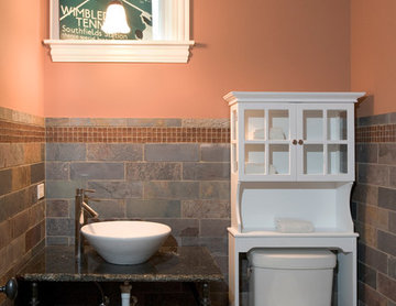 Powder Room with Custom Iron and Stone Vanity Features Vessel Bowl Sink