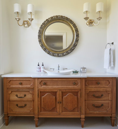 Farmhouse Powder Room by Orren Pickell Building Group