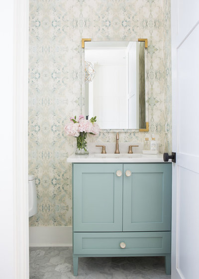 Transitional Powder Room by Lindsey Black Interiors