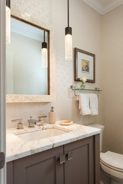 Transitional Powder Room by Roomscapes Luxury Design Center