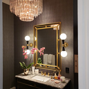 Powder rooms - Check fabric for walls