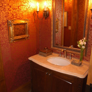 Medium sized classic cloakroom in Minneapolis with a submerged sink, freestanding cabinets, dark wood cabinets, red walls and slate flooring.