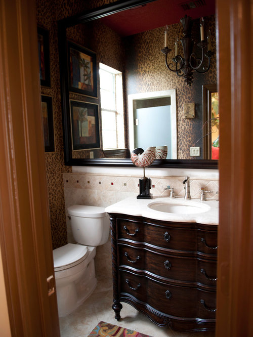 Example Of An Eclectic Powder Room Design In Houston