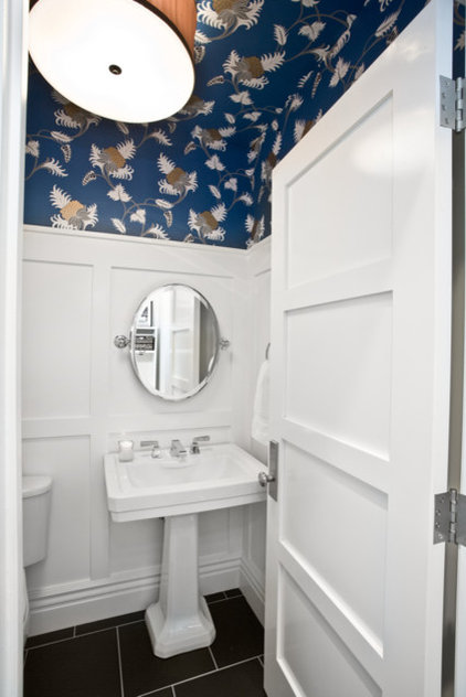 Eclectic Powder Room by B.Design