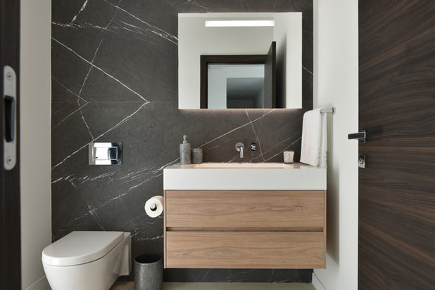 Contemporary Powder Room by Choeff Levy Fischman, P.A.