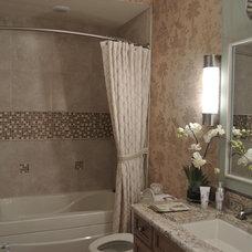 Transitional Powder Room by Aniko Design LLC