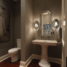Transitional Powder Room by Windstar Homes