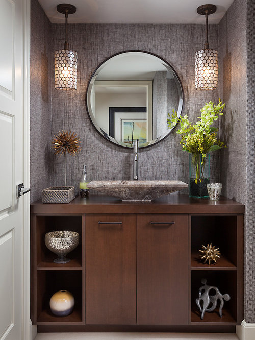powder room bathroom lighting. example of a transitional powder room design in miami with vessel sink bathroom lighting s