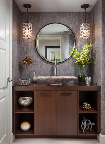 Transitional Powder Room by Insignia Design Group