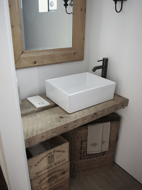 Farmhouse Powder Room Design Ideas, Remodels & Photos with a Vessel Sink
