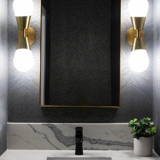 Свежая идея для дизайна: маленький туалет в стиле модернизм с подвесной тумбой - отличное фото интерьера