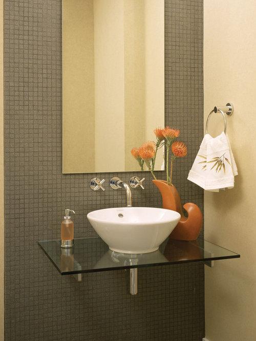 bathroom sink without vanity. Trendy powder room photo in Denver Sink Without Vanity  Houzz