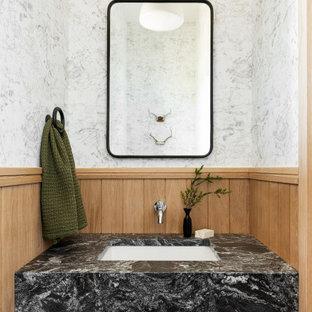 他の地域の小さいラスティックスタイルのおしゃれなトイレ・洗面所 (マルチカラーのタイル、白い壁、セラミックタイルの床、壁付け型シンク、御影石の洗面台、黒い床、黒い洗面カウンター) の写真