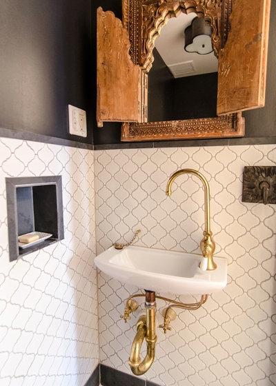 Mediterranean Powder Room by indigo & ochre design