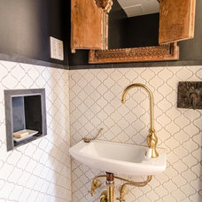 Mediterranean Powder Room by indigo & ochre design