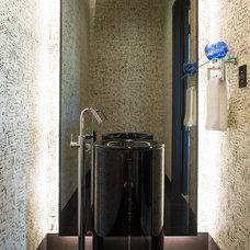 Contemporary Powder Room by 186 Lighting Design Group - Gregg Mackell