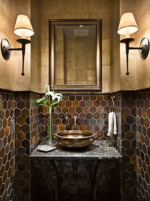 Nice Unique Powder Rooms Part - 8: Mountain Style Powder Room Photo In Other With A Vessel Sink