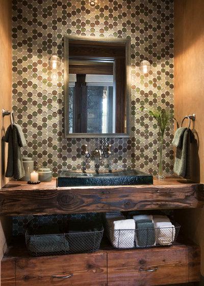 Rustic Powder Room by Locati Architects