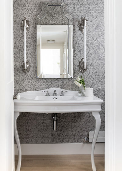 Transitional Powder Room by DeForest Architects