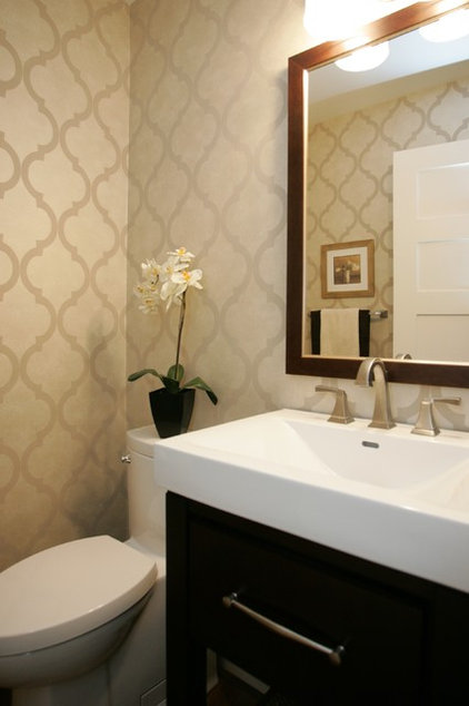 Contemporary Powder Room by MK Design Group Inc.