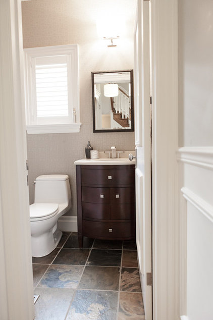 Contemporary Powder Room by Pure Bliss Creative Design