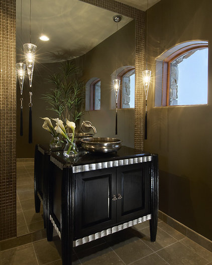 Transitional Powder Room by Ownby Design