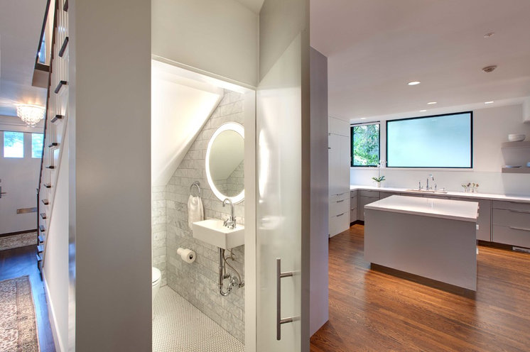 Contemporary Powder Room by Electric Mirror