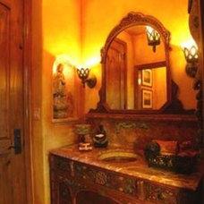 Eclectic Powder Room by Linda Medina Interior Design
