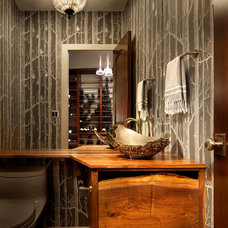 Rustic Powder Room by Kaegebein Fine Homebuilding