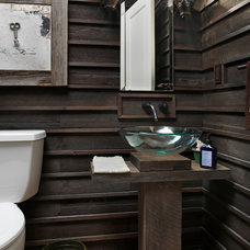 rustic powder room by Andrew Melaragno, AIBD