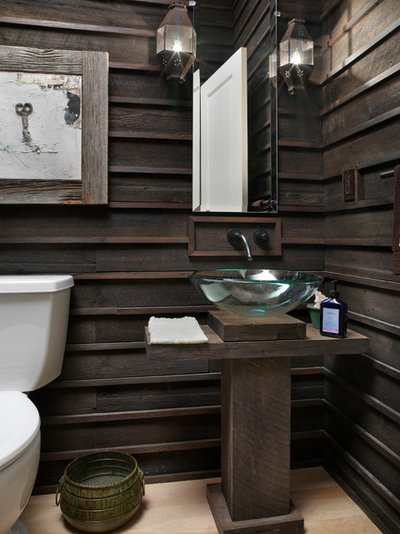 Rustic Powder Room by Melaragno Design Company, LLC